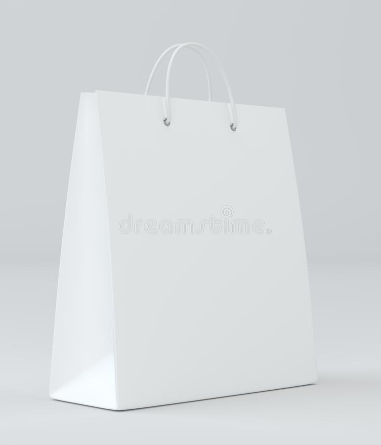 Saco de compras vazio para anunciar e marcar rendição 3d ilustração do vetor