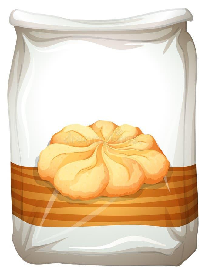 Saco de cookies de manteiga ilustração royalty free