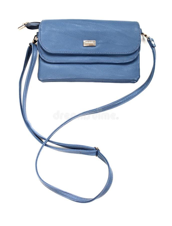 Saco de couro azul da mulher foto de stock royalty free
