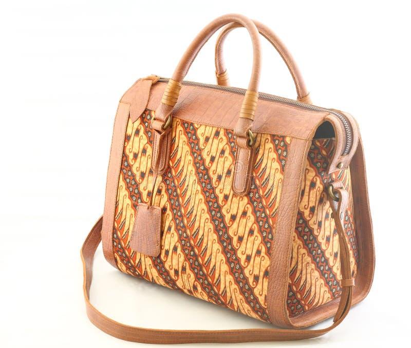 Saco de couro das mulheres do Batik imagem de stock royalty free
