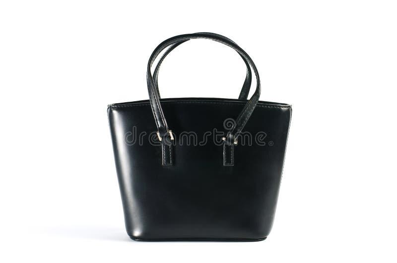 Saco de couro preto das mulheres. fotografia de stock royalty free