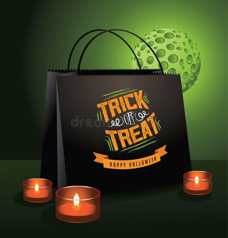 Saco de Dia das Bruxas da doçura ou travessura com lua verde ilustração stock