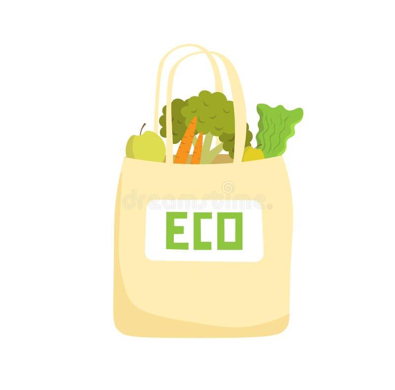 Saco de Eco com cenoura, maçã, couve, brócolis no vetor Estilo de Eco ilustração stock