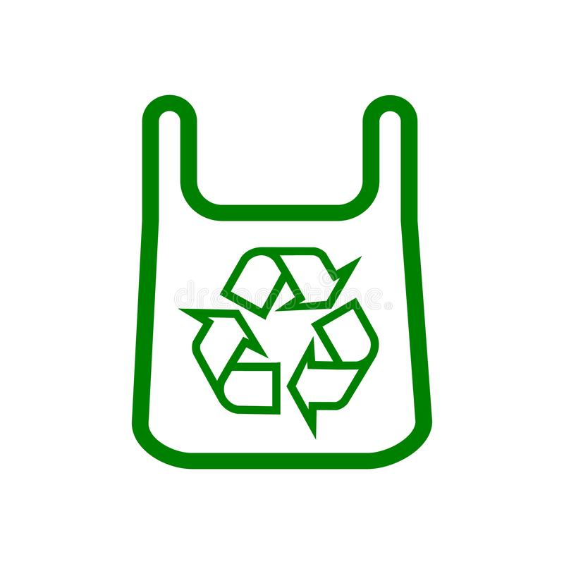 Saco de Eco Produtos com uma marca da reciclagem para o projeto diferente ilustração stock