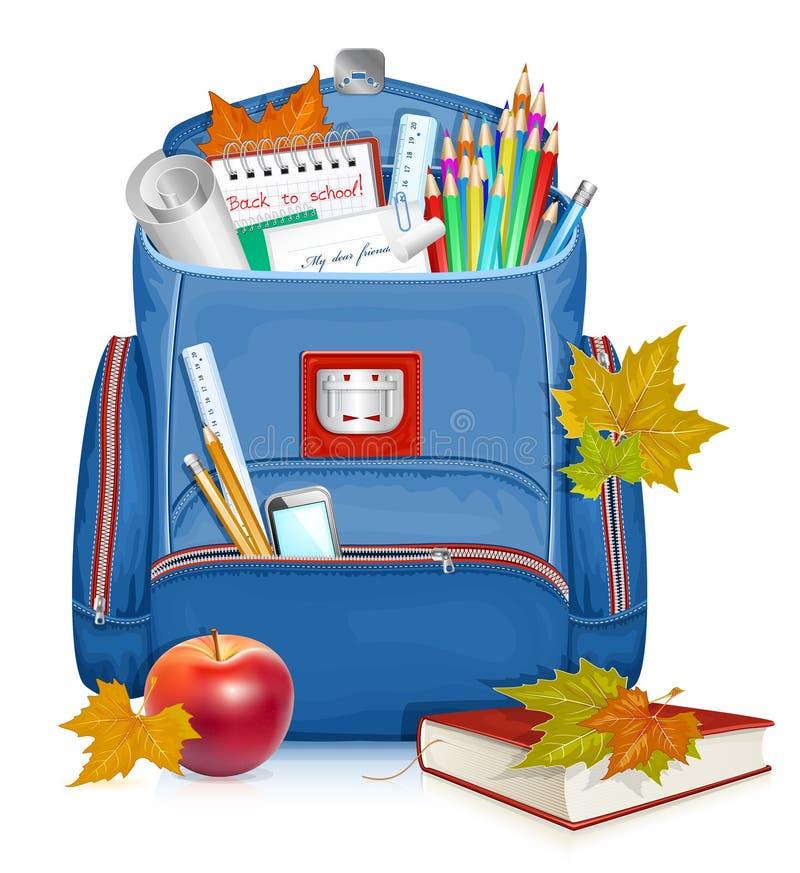 Saco de escola com objetos da educação ilustração royalty free