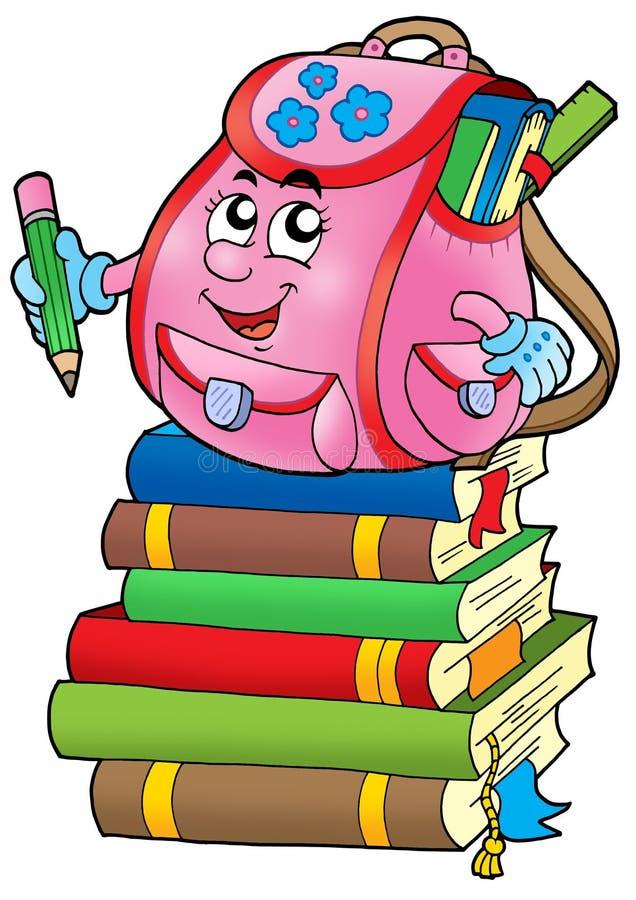Saco de escola cor-de-rosa em livros ilustração royalty free