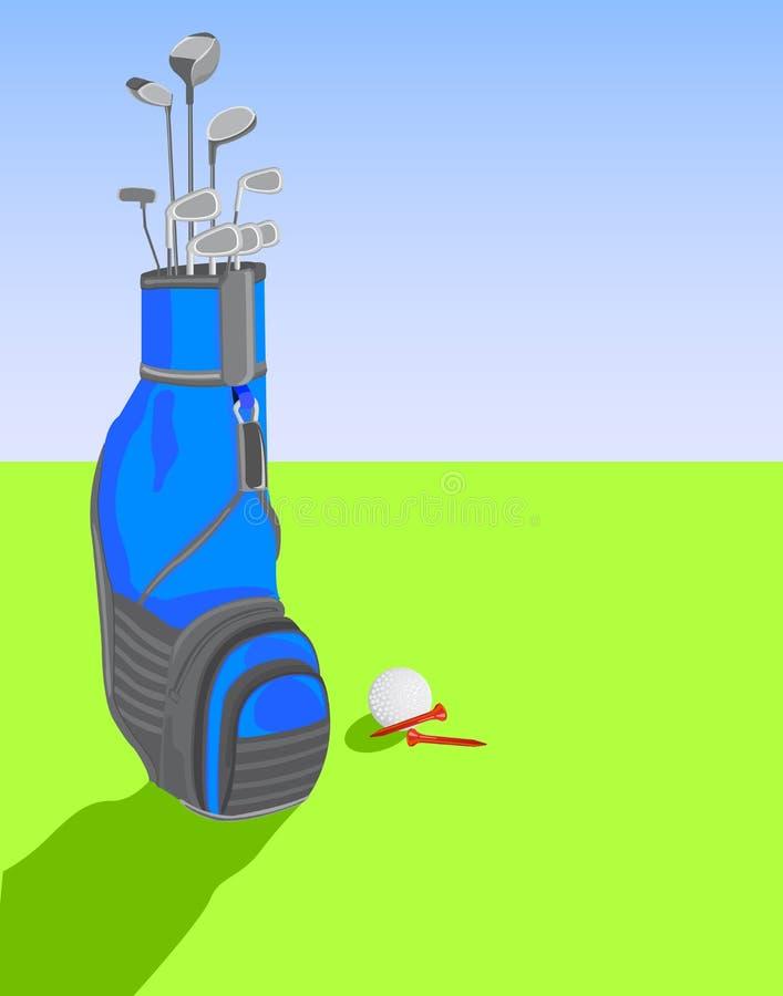Saco de golfe com clubes e esfera ilustração stock