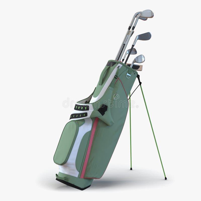 Saco de golfe com os clubes no branco ilustração 3D ilustração do vetor