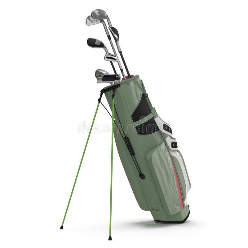 Saco de golfe com os clubes no branco ilustração 3D ilustração stock