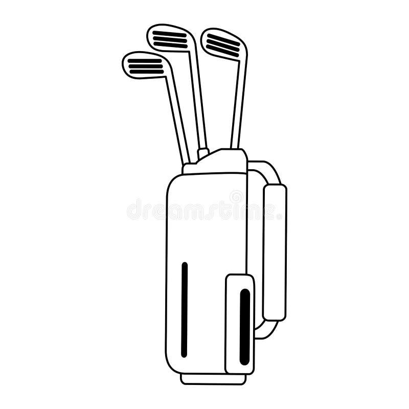 Saco de golfe com símbolo dos clubes em preto e branco ilustração stock