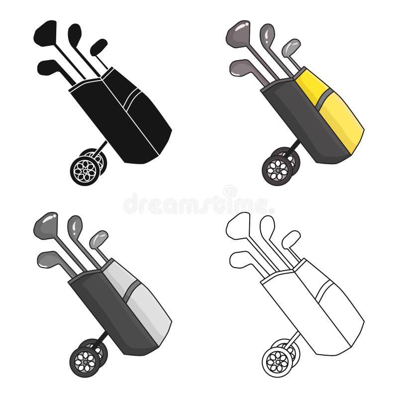 Saco de golfe nas rodas com o ícone dos clubes no estilo dos desenhos animados isolado no fundo branco Vetor do estoque do símbol ilustração stock