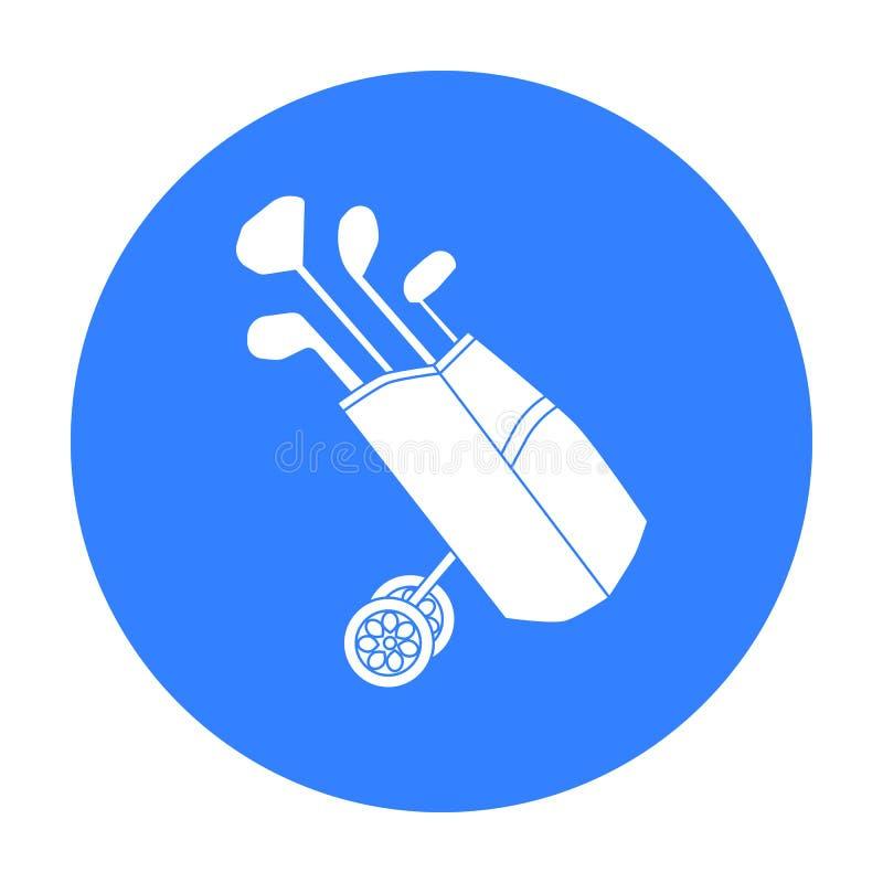 Saco de golfe nas rodas com o ícone dos clubes no estilo preto isolado no fundo branco Vetor do estoque do símbolo do clube de go ilustração stock