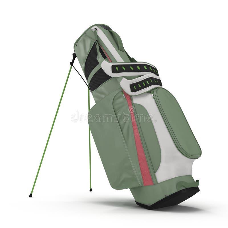 Saco de golfe verde vazio no branco ilustração 3D ilustração do vetor
