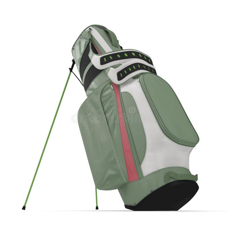 Saco de golfe verde vazio no branco ilustração 3D ilustração royalty free