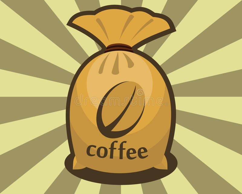 Saco de granos de café ilustración del vector