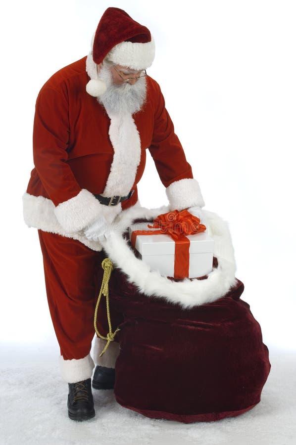 Saco de la apertura de Santa de juguetes foto de archivo libre de regalías