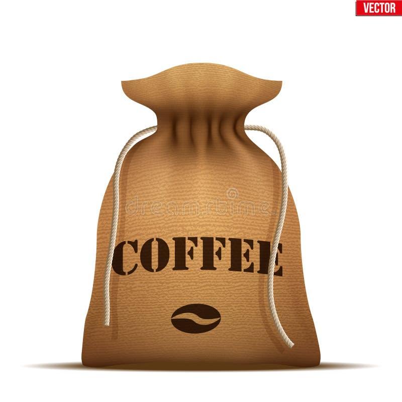 Saco de la arpillera con caf? ilustración del vector
