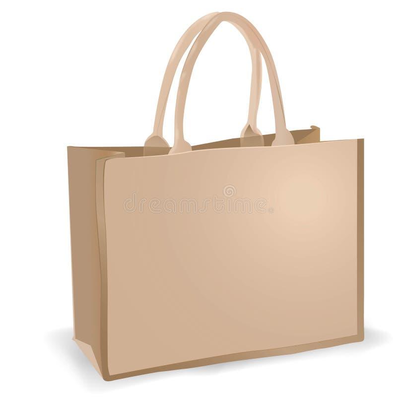 Saco de linho de Eco com os punhos para compras na mercearia fotos de stock royalty free