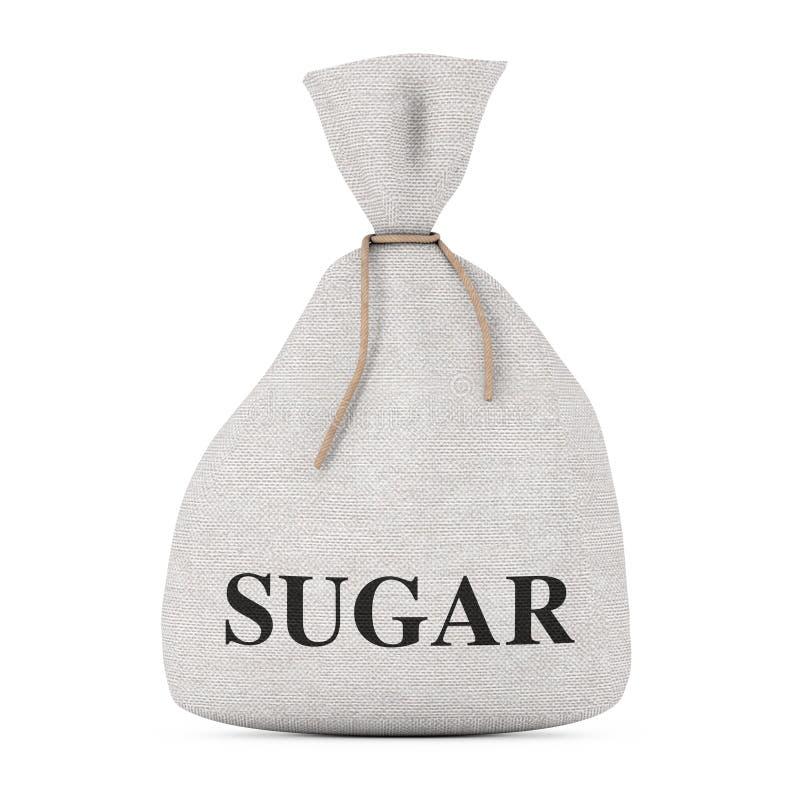 Saco de lino atado o bolso de la lona rústica con Sugar Sign renderi 3D ilustración del vector