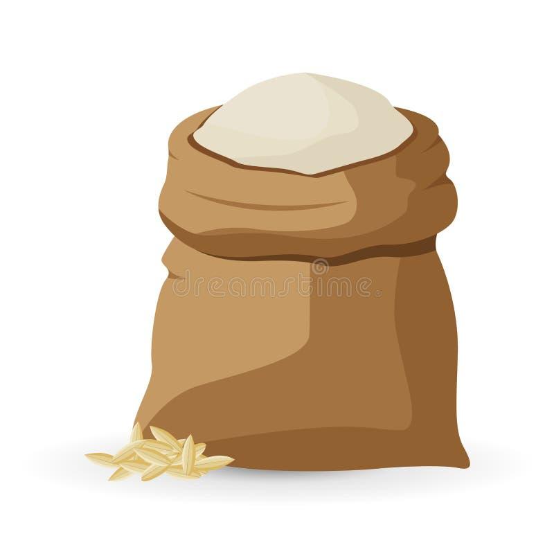 Saco de lino por completo de icono de la harina Ejemplo plano del saco de lino por completo de icono del vector de la harina para libre illustration
