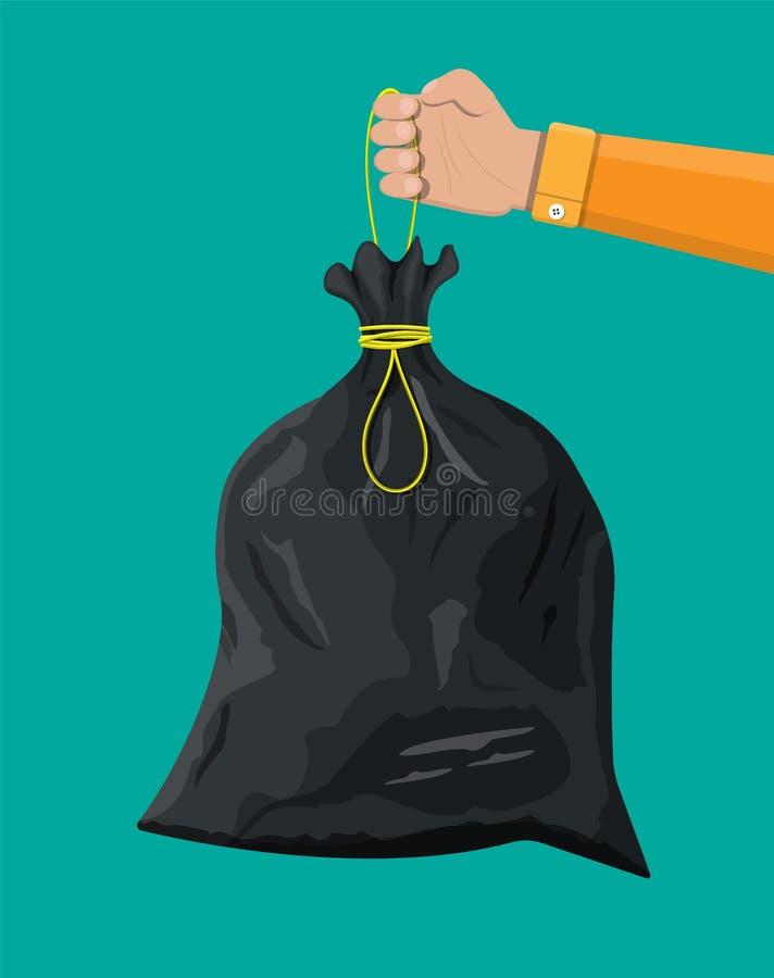 Saco de lixo plástico com corda à disposição ilustração stock