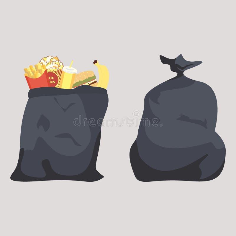 Saco de lixo preto aberto com fast food batatas fritas doces da água da banana do Hamburger ilustração stock