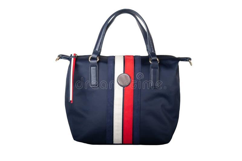 Saco de mão Close up da bolsa elegante azul isolada na parte traseira do branco fotos de stock