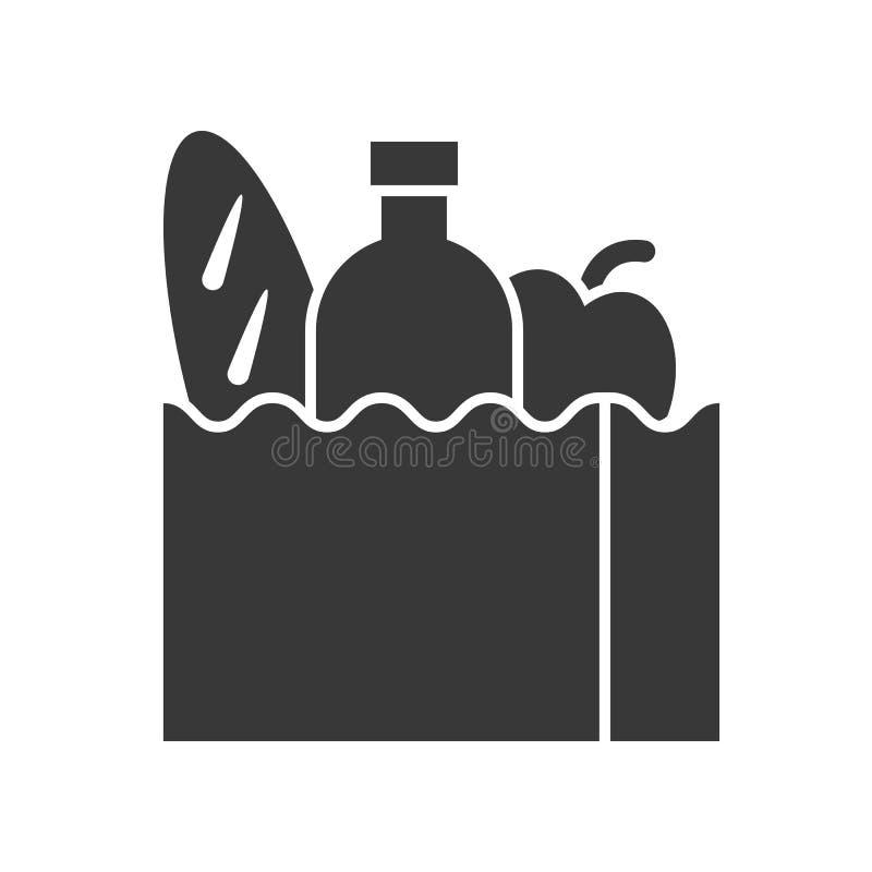 Saco de mantimento com pão, garrafa de água e maçã, alimento e beverag ilustração stock