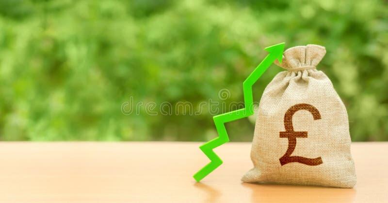 Saco de moeda com libra esterlina símbolo GBP e seta verde para cima Aumentar lucros e riqueza Crescimento Atração ao investiment fotografia de stock royalty free