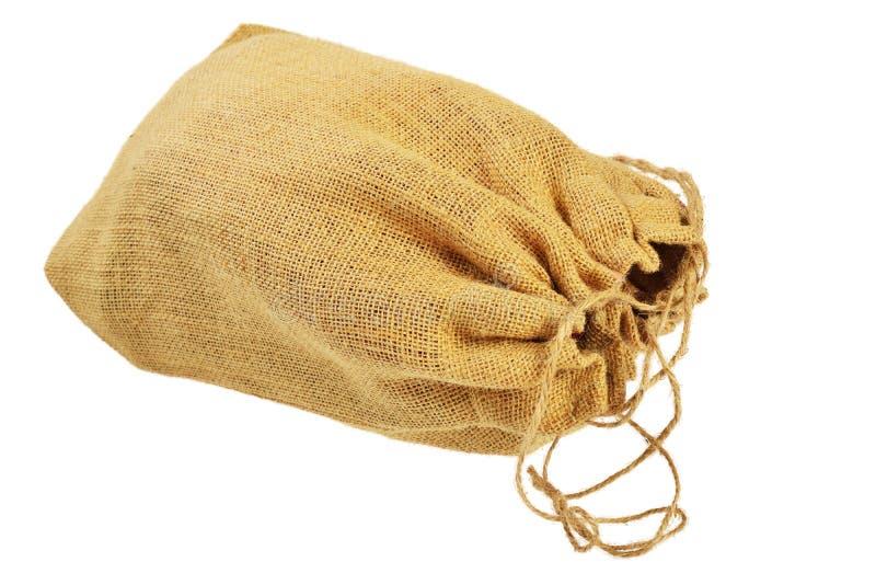 Saco de pano com cordões foto de stock