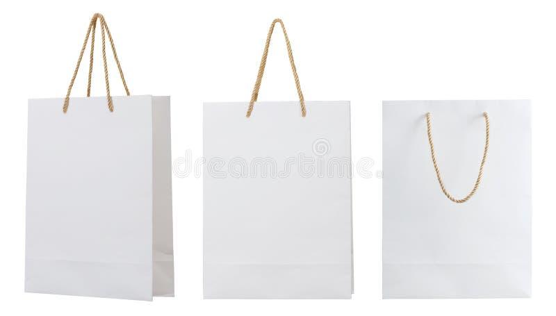 Saco de papel branco fotos de stock royalty free