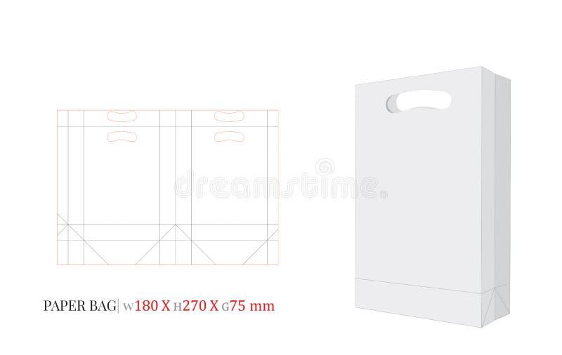 Saco de papel com ilustração do punho, saco de compras, 180 x 270 x 75 ilustração stock