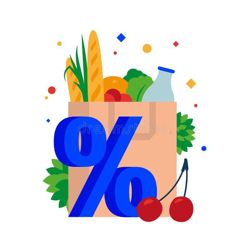 Saco de papel com mantimentos Ensaque com compra, pão, leite, ervas, vegetais e frutos em um disconto ilustração do vetor