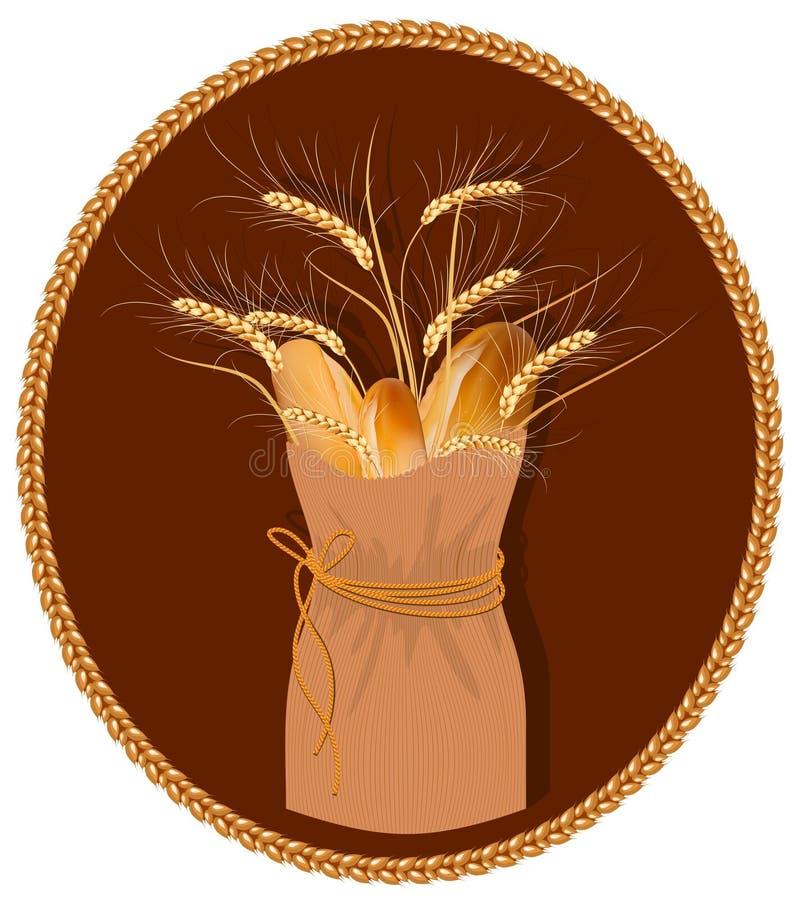 Saco de papel com pão e trigo. ilustração royalty free