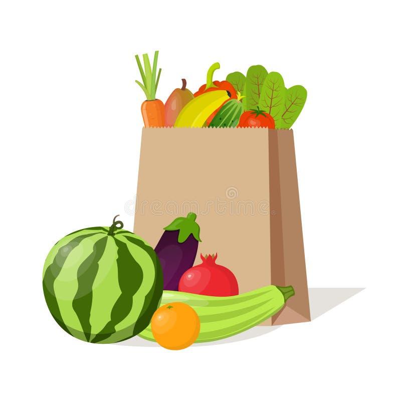 Saco de papel completamente de vegetais e de frutos orgânicos naturais Composição bonita com melancia, abobrinha, romã, beringela ilustração do vetor