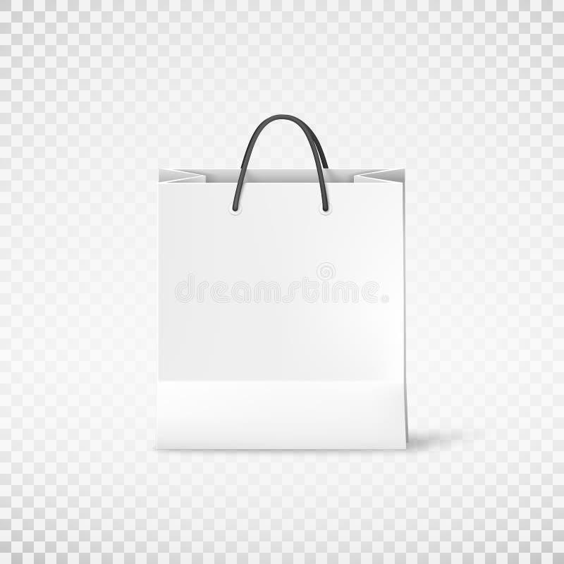 Saco de papel da compra branca Molde do saco Ilustração do vetor isolada no fundo transparente ilustração royalty free