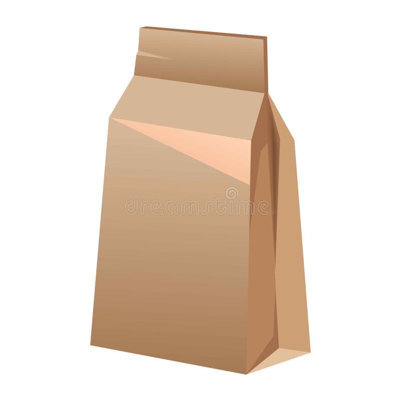 Saco de papel de Brown para o alimento isolado no branco ilustração royalty free