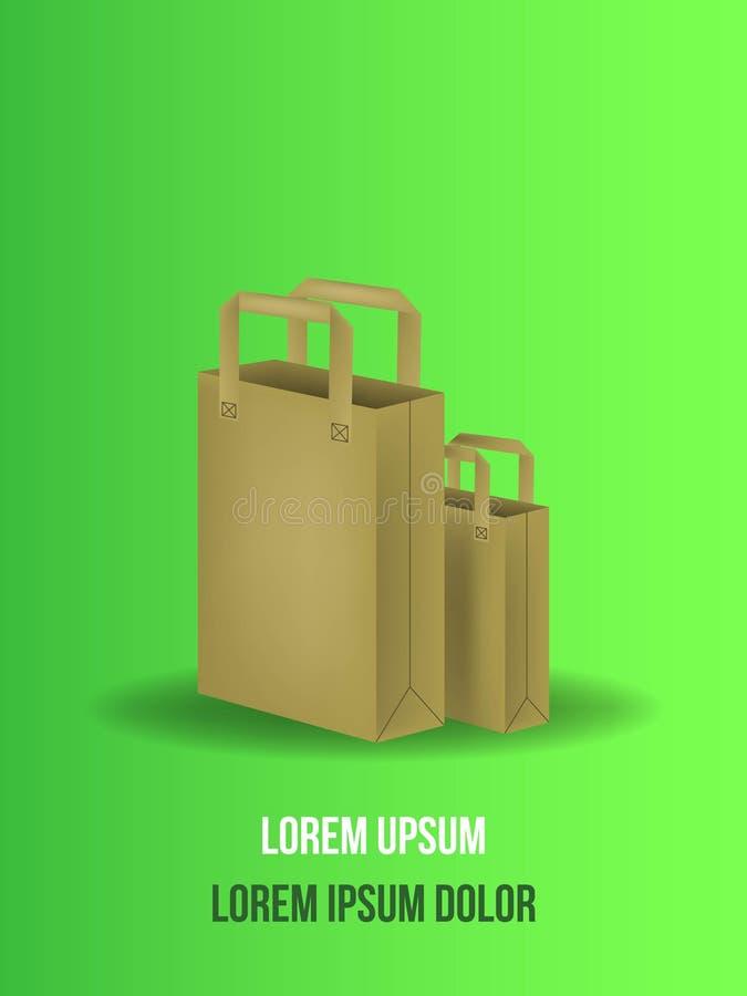 Saco de papel do mantimento com a ilustração do vetor isolada no fundo verde Saco de papel de Brown para produtos ou alimento ilustração stock