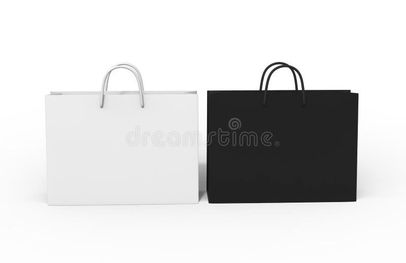 Saco de papel vazio branco da compra isolado no fundo branco para a zombaria acima e o projeto do molde 3d rendem a ilustração ilustração stock