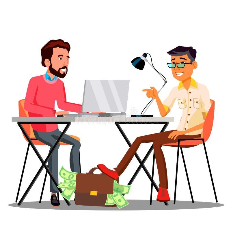 Saco de Passing A do homem de negócios com dinheiro sob a tabela a um outro homem de negócios Vetora Ilustração isolada ilustração royalty free