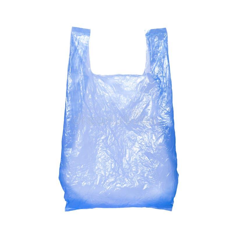 Saco de plástico azul isolado no branco imagens de stock royalty free