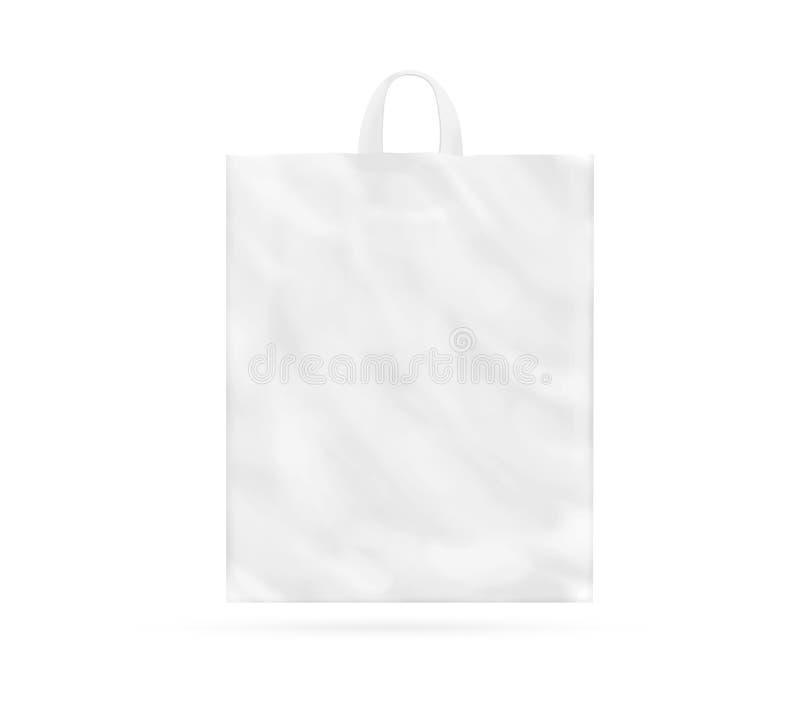 Saco de plástico branco vazio com zombaria do punho isolado acima foto de stock royalty free