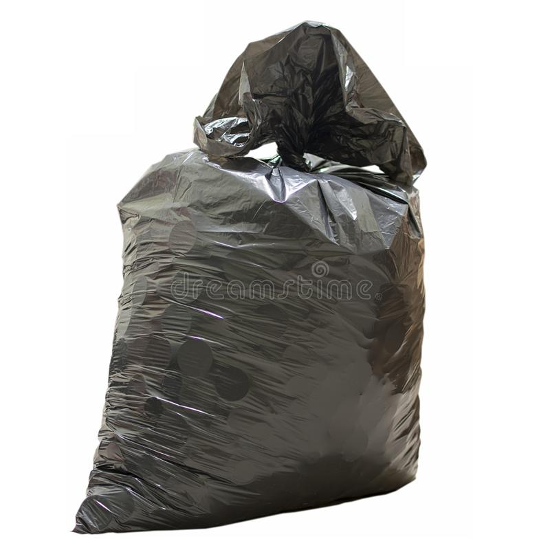 Saco de plástico com fim do lixo acima imagem de stock