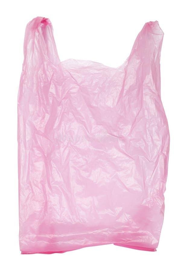 Saco de plástico cor-de-rosa isolado fotos de stock