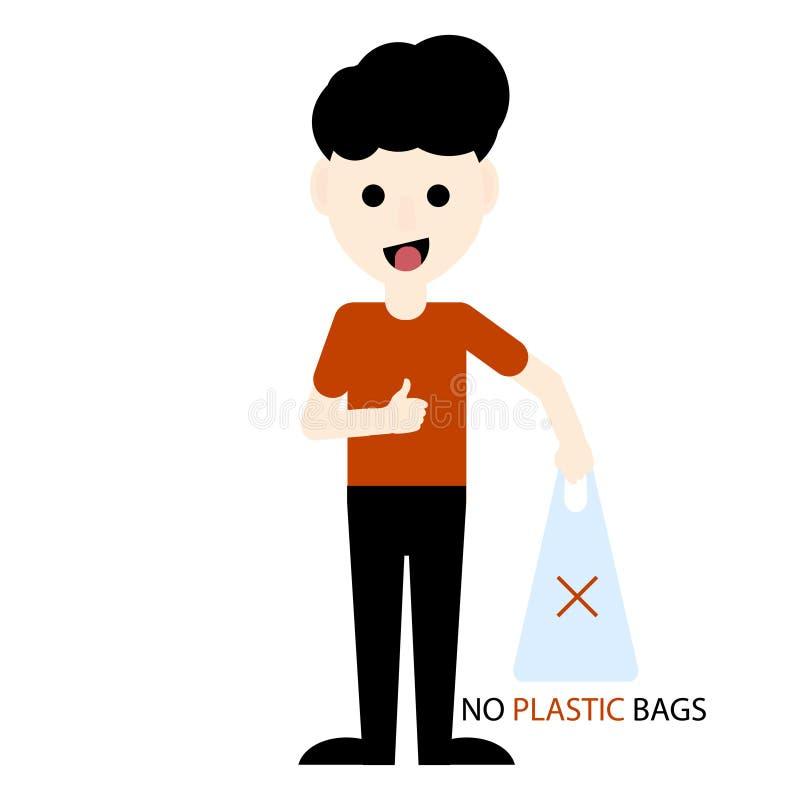 Saco de plástico da terra arrendada do ativista de Eco Protecção ambiental Diga não aos sacos de plástico e use sacos orgânicos I ilustração do vetor