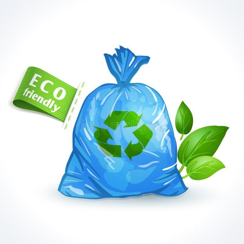Saco de plástico do símbolo da ecologia ilustração royalty free