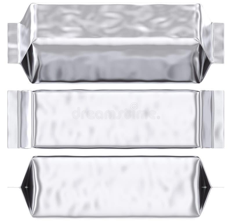 Saco de plástico gusseted da prata vazia do malote da folha ilustração royalty free