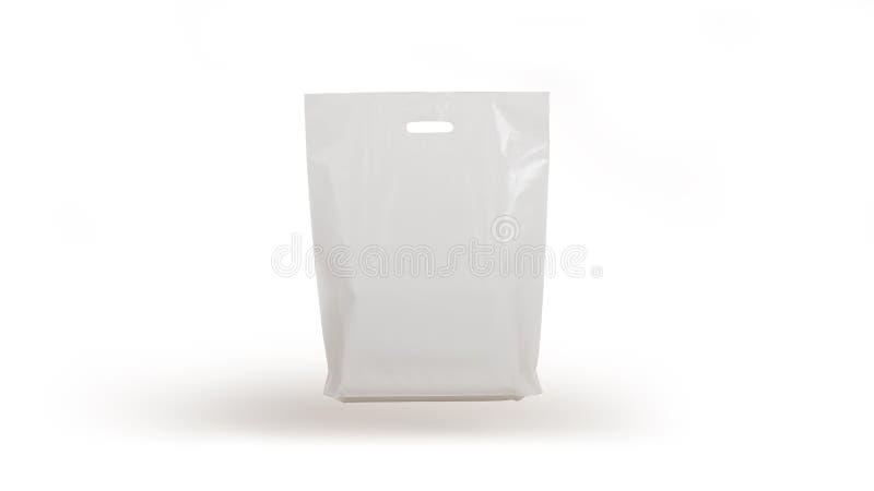 Saco de plástico isolado no fundo branco, gravidade imagens de stock