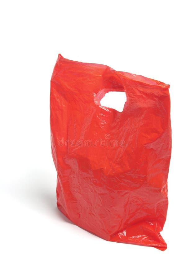 Saco de plástico vermelho imagens de stock