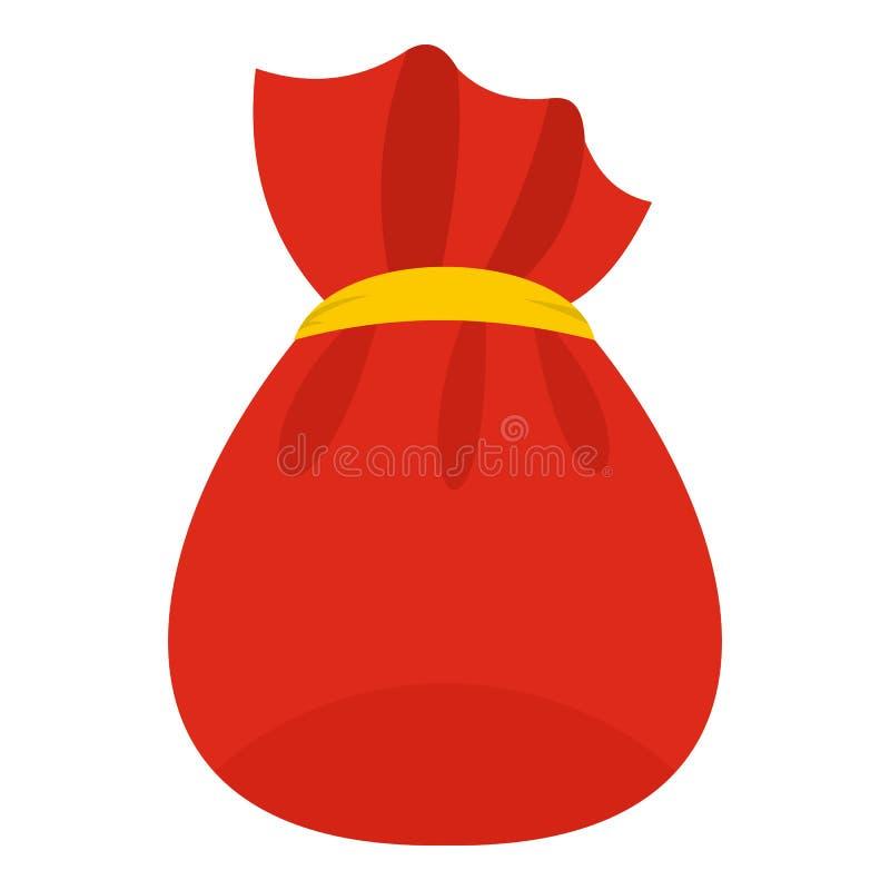 Saco de Santa Claus com ícone dos presentes, estilo liso ilustração do vetor